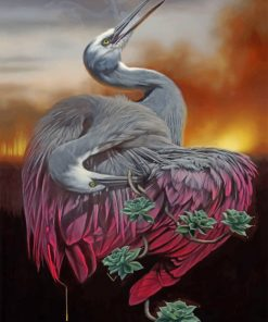 Great Blue Heron Birds And Cactus Paint by numbers
