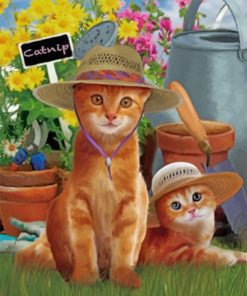 Cats Wearing Sunhats paint by numbers