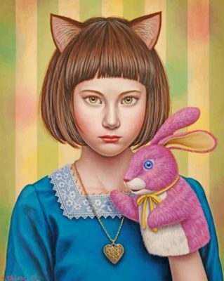 Girl And Bunny paint by numbers