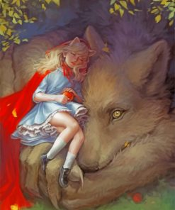 Sleepy Girl And Wolf Paint by numbers
