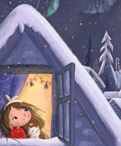 Girl Watching The Snow Falling Paint by numbers