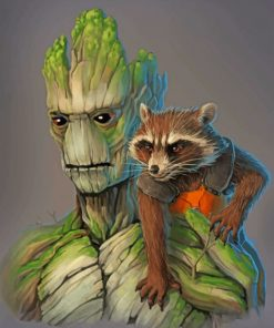 groot and rocket raccoon paint by numbers