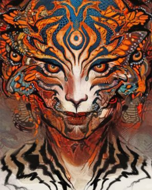 Trippy Tiger Woman paint by numbers