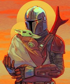 mandalorian and baby yoda paint by number