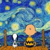 Starry Night Snoopy and Charlie Brown Paint by numbers