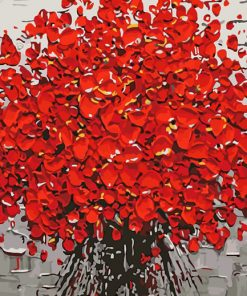 red plum tree art paint by number