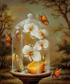 Orchid Flowers And Monarch Butterflies paint by numbers