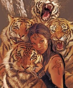Woman And Tigers paint by numbers