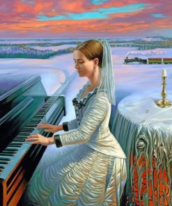 Woman Playing Piano paint by numbers