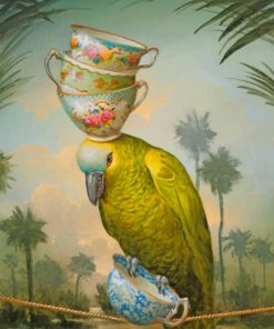 Yellow Parrot Carrying Cups paint by numbers