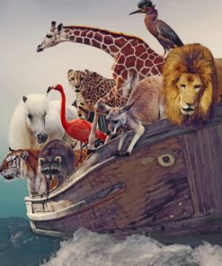 Animals On Boat paint by number
