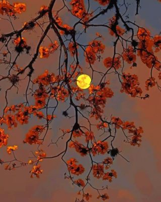 Autumn Tree Moon paint by number