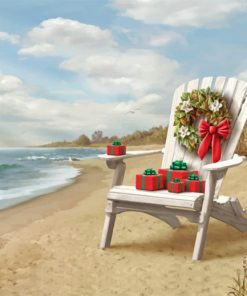 Beach Christmas Chair paint by number