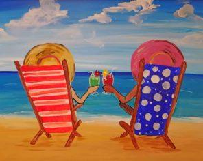 Besties In Beach paint by number