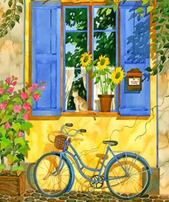 Bicycle In Garden paint by number