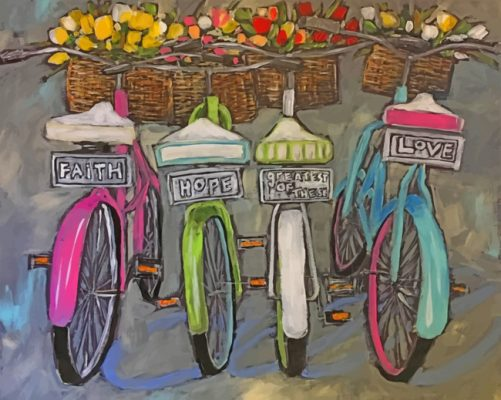 Bikes With Tulips Baskets paint by number