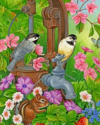 Birds And chipmunk paint by number