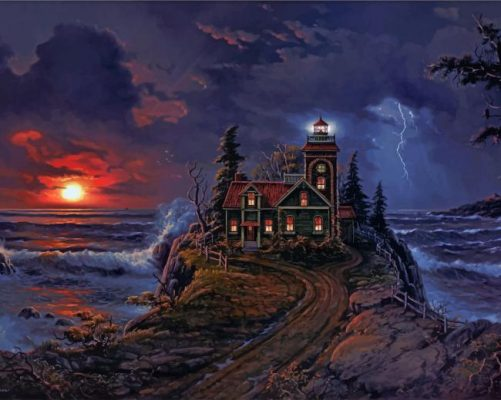 Cabin by sea paint by number