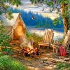 Camping By Lake paint by numbers