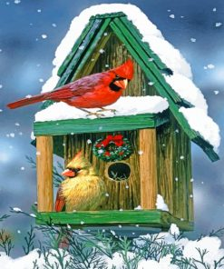 Cardinals In Snow House paint by numbers