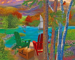 Chairs By Lake paint by number