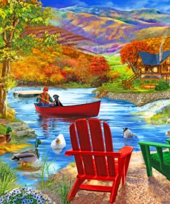 Chairs By Lake paint by numbers