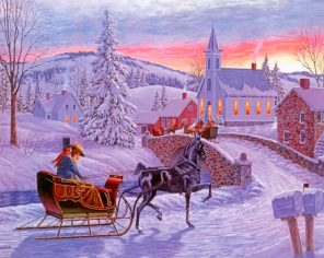 Christmas Horse Sleigh paint by numbers
