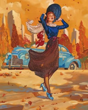 Classic Girl In Autumn paint by number