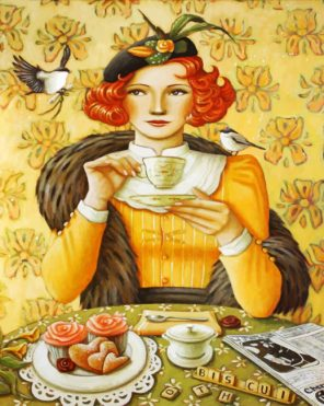Classic Woman Drinking Coffee paint by numbers