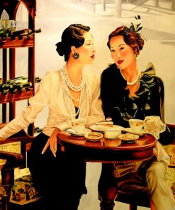 Classic Women Drinking Coffee paint by numbers