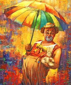 Clown Under Umbrella paint by numbers