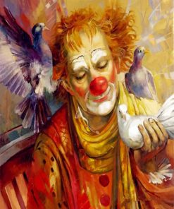 Clown With Pigeons paint by numbers