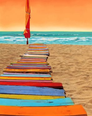 Colorful Beachwalk paint by number