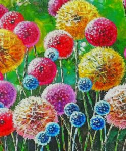 Colorful Dandelions Art paint by number