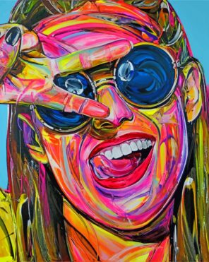 Colorful Girl Art paint by numbers