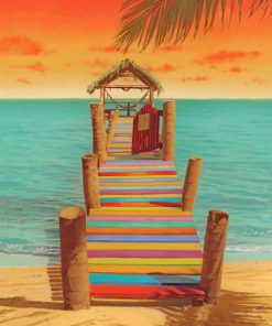 Colorful Sea Pier paint by number
