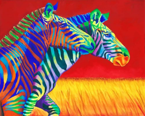 Colorful Zebras paint by numbers