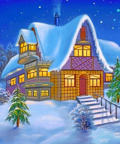 Cottage House In Snow paint by numbers