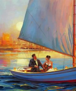 Couples On boat paint by numbers