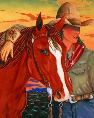 Cowgirl And Horse paint by numbers