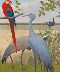 Cranes And Macaw paint by numbers
