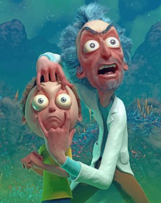 Crazy Rick And Morty paint by number