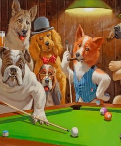 Dogs Playing pool paint by number