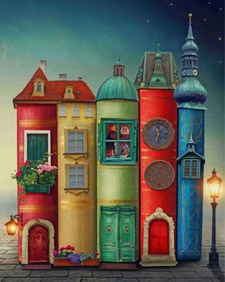 Fantasy Books Houses paint by number