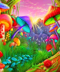 Fantasy mushrooms paint by numbers