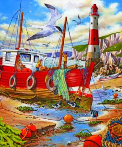 Fishing boat paint by numbers