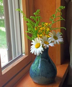 Flowers Vase In Window paint by number