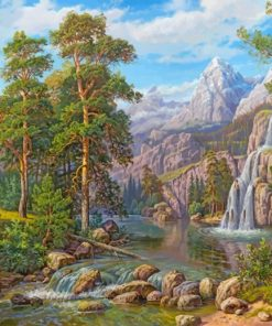 Forest Mountain Waterfall paint by number