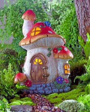 Forest mushroom house paint by numbers