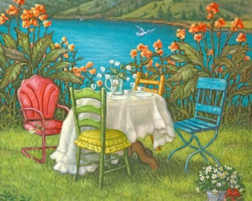 Garden House By Lake paint by number